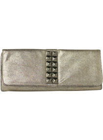 Pewter Pyramid Stud Clutch